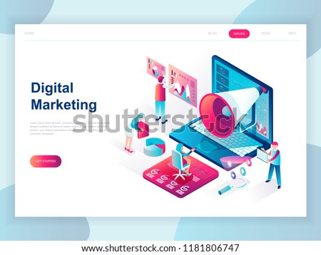 Modern flat design isometric concept of Digital Marketing for banner and website. Isometric landing page template. Business analysis, content strategy and management. Vector illustration. Royalty-Free Stock Photo #1181806747