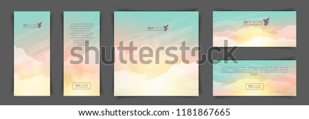 A set of flyers with realistic turquoise-yellow sky and cumulus clouds. The image can be used to design a banner and postcard. Royalty-Free Stock Photo #1181867665