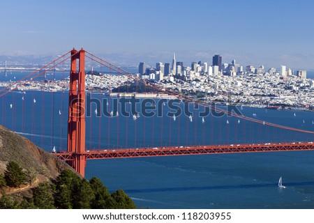 San Francisco Panorama w Golden gate bridge from San Francisco Bay