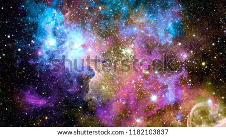 Colorful nebulas, galaxies and stars in deep space. Elements of this image furnished by NASA. Royalty-Free Stock Photo #1182103837