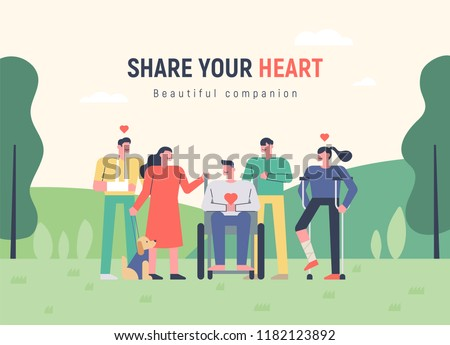 A humane and heartwarming appearance among companion with disabilities. Advertising concept template flat design style vector graphic illustration #1182123892