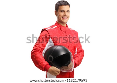 Racer with a helmet looking at the camera and smiling isolated on white background Royalty-Free Stock Photo #1182179593