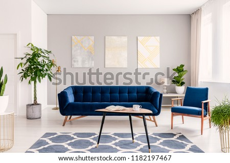 Elegant living room interior with a set of dark blue sofa and armchair. Gold and silver contemporary paintings on the background wall. Real photo. #1182197467