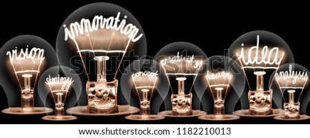 Photo of light bulbs with shining fibres in INNOVATION, IDEA, VISION, CONCEPT and CREATIVITY shape on black background #1182210013