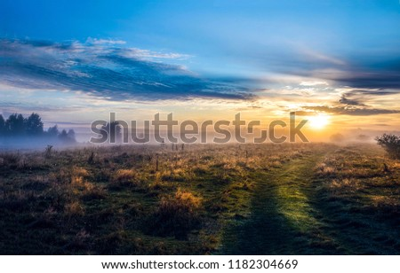 Sunset field fog landscape. Fog field sunset panorama. Sunset fog field view. Sunset sky field fog scene #1182304669