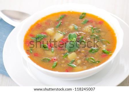 fresh lentil soup in bowl #118245007
