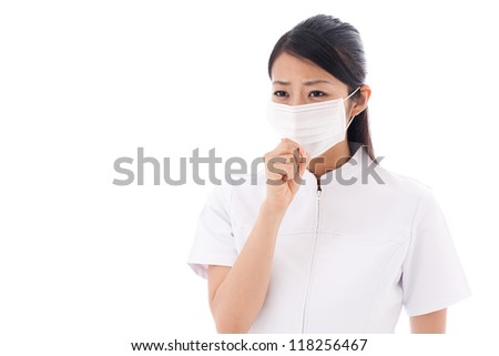 attractive asian nurse taking mask on white background #118256467