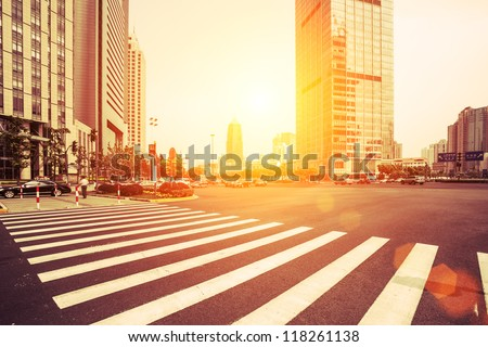 avenue in modern city Royalty-Free Stock Photo #118261138