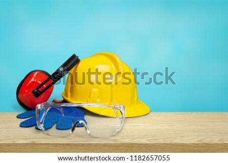 Safety equipment - hardhat, goggle, gloves and #1182657055