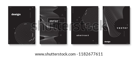 Abstract covers set with geometric elements. Vector template for placards, banners, flyers and presentations. EPS 10 illustration.