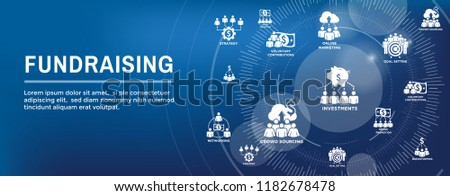 People Working Together - Fund Different Online Ideas with Money Icon Set Web Header banner #1182678478