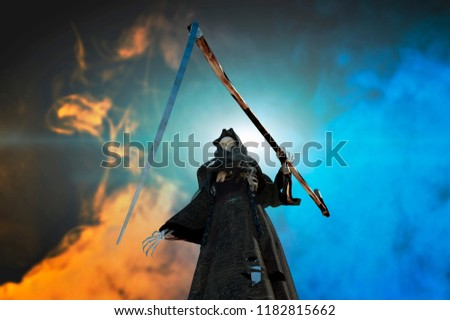 3D Illustration of a death in the hood, grim Reaper standing on Halloween background #1182815662