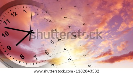Clock and calendar in bright sky. Time passing #1182843532