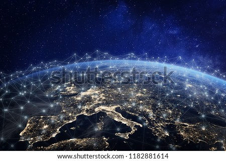 European telecommunication network connected over Europe, France, Germany, UK, Italy, concept about internet and global communication technology for finance, blockchain or IoT, elements from NASA Royalty-Free Stock Photo #1182881614