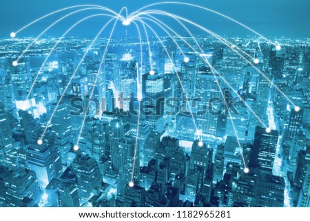 Smart city scape and network connection concept, wireless signal of internet in business city. internet connection.social on line business  #1182965281