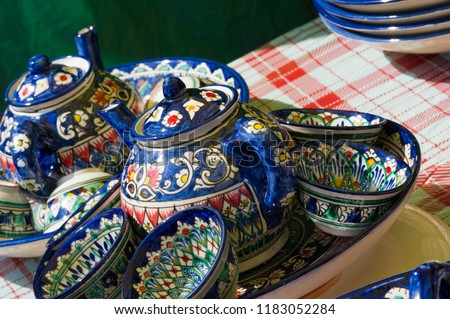 Handmade products decorated with national ornaments, Uzbekistan #1183052284
