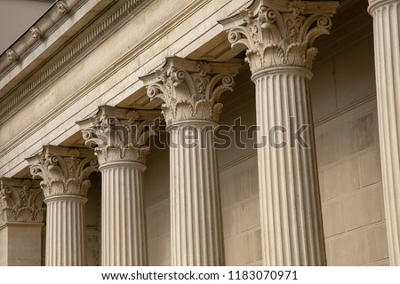 Vintage Old Justice Courthouse Column Royalty-Free Stock Photo #1183070971