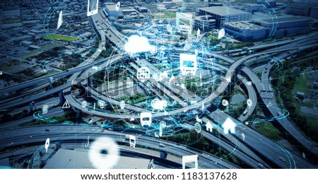 Social infrastructure and communication technology concept. IoT(Internet of Things). Autonomous transportation.  #1183137628