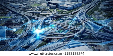 Social infrastructure and communication technology. IoT(Internet of Things). Autonomous transportation.  Royalty-Free Stock Photo #1183138294