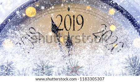Countdown to midnight. Retro style clock counting last moments before Christmass or New Year 2019. #1183305307