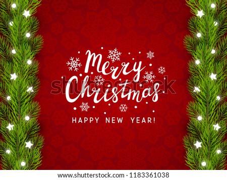 Greeting card with Christmas tree border #1183361038