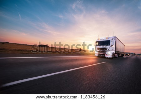 Truck with container on highway, cargo transportation concept. #1183456126