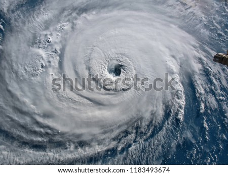Satellite view. Hurricane Florence over the Atlantics close to the US coast . Elements of this image furnished by NASA. #1183493674