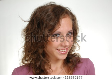 Portrait of teenager woman on white background #118352977