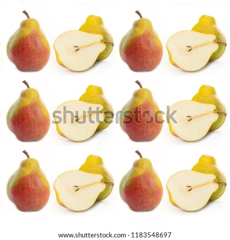 Pattern yellow ripe pear on white background. Autumn harvest of fruits. Fruit pattern. #1183548697
