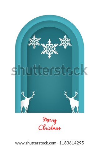 Cute Christmas Greeting Card and background illustration.Santa hat,snowman,christmas tree and snowflake with paper cut style illustration. (Jpeg not vector)