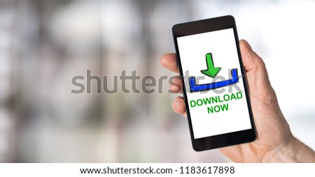 Smartphone screen displaying a download concept #1183617898