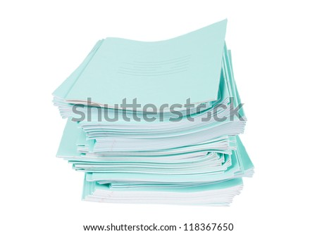 Heap of blue notebooks over white background #118367650