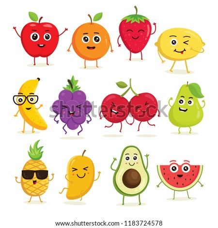 Vector collection of cute fruits. Funny fruit characters isolated on white background, Cute and funny fruit set vector illustration #1183724578