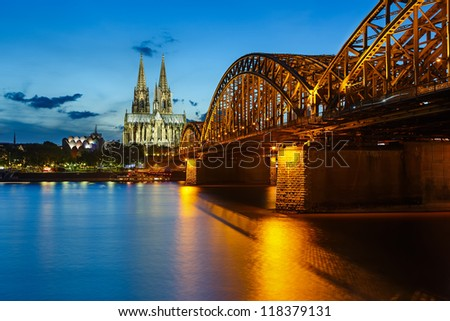 View on Cologne Cathedral and Hohenzollern Bridge, Germany #118379131
