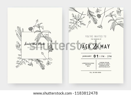 Minimalist wedding invitation card template design, floral black line art ink drawing with square frame on light grey Royalty-Free Stock Photo #1183812478