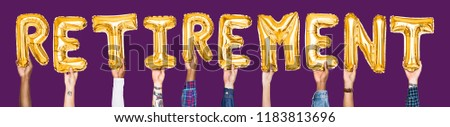 Yellow gold alphabet balloons forming the word retirement #1183813696