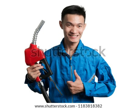 Oil engineer man holding Fuel Oil Nozzle for Oil System Gasohol 91 Asian man isolated on white background. #1183818382