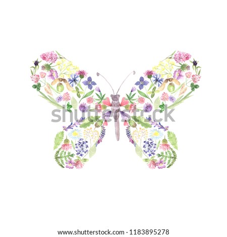 Beautiful butterfly with hand painted watercolor flowers in romantic fashion style. Decorative floral insect isolate on white pefect for card making, wedding invitation and DIY project