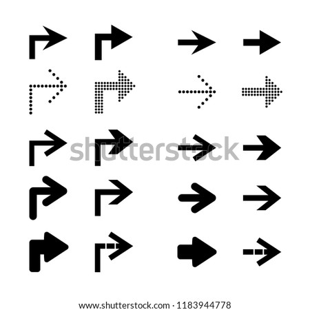 Arrow sign icon set. Vector illustration. #1183944778
