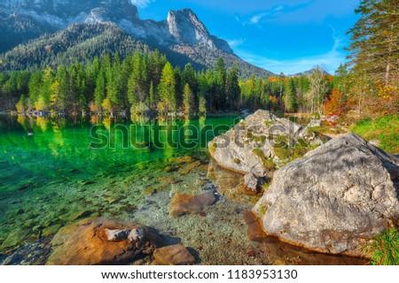 autumn sunset of Hintersee lake. Beautiful scene of trees near turquoise water of Hintersee lake. Location: resort Ramsau, National park Berchtesgadener Land, Upper Bavaria, Germany Alps, Europe #1183953130