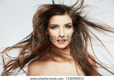 Woman face with hair motion on white background isolated close up portrait. #118400851