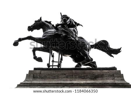 Monument to Anita Garibaldi isolated on white (Rome, Italy) Royalty-Free Stock Photo #1184066350