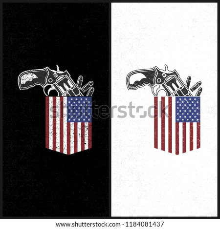Illustraion Gun In A Pocket, US Flag As Pocket in a shirt, independence day, weapon, bullet