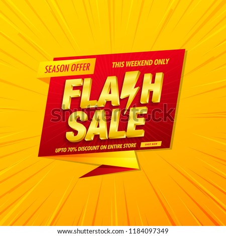 Flash sale banner design template with 3d vector text on yellow background.