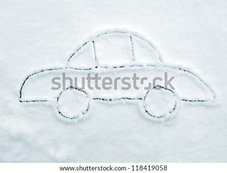 Hand drawing car on snow #118419058