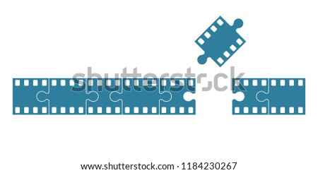 Blank blue film frame stock as set of jigsaw pieces. Flat vector illustration #1184230267