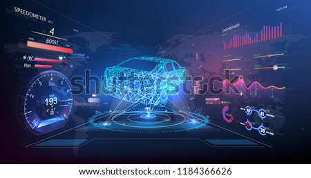 Futuristic user interface. HUD UI. Abstract virtual graphic touch user interface. Car service in the style of HUD. Virtual graphical interface Ui HUD Autoscann. Vector #1184366626