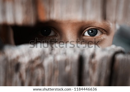 Boy looks through the gap in the fence. The concept of voyeurism, curiosity, Stalker, surveillance and security #1184446636