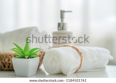 Ceramic soap, shampoo bottles and white cotton towels with green plant on white counter table inside a bright bathroom background #1184501761