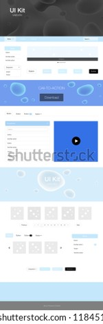 Light BLUE vector Material Design Kit with liquid shapes. Modern gradient abstract illustration with bandy lines. Simple colorful design for websites. #1184515276
